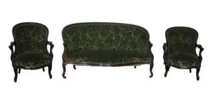Salottino Luigi Filippo francese divano e due poltrone, 1830 1850, Francia