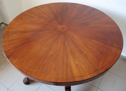 Table de chambre circulaire en acajou marqueté du XIXe siècle